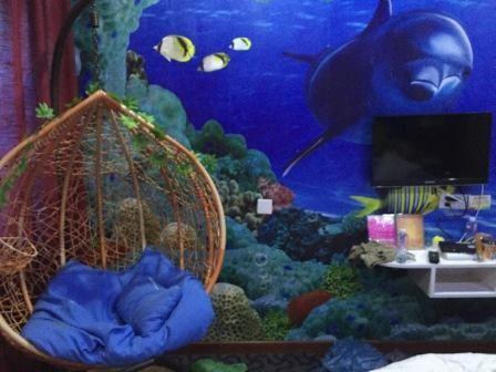 景色非常不错      我们住的海底世界风情圆床房,孩子们很喜欢,两个小